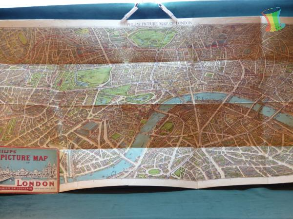 Philips Picture Map of London, alter Stadtplan Londons um 1920 2